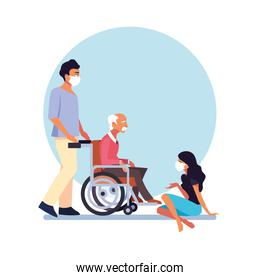 people take care of old man in wheelchair