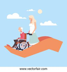 woman take care of old man, caring for the elderly