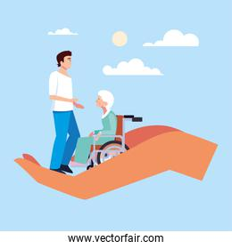 young man take care of old woman, caring for the elderly