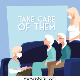 young people take care of elderly, label take care of them