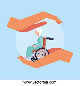 elderly care, old woman in a wheelchair