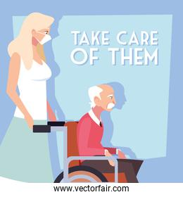 woman take care of old man, label take care of them