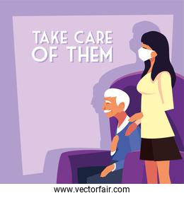 woman take care of old man and label take care of them