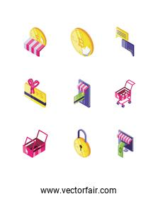 set of icons online payments on white background