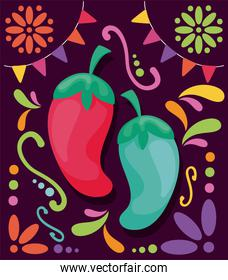 hot chili peppers with symbols of cinco de mayo