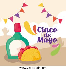 label cinco de mayo taco with tequila