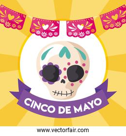 skull with the label of cinco de mayo