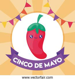 label cinco de mayo with spicy chile