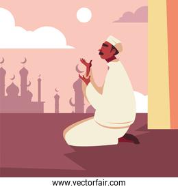 man muslim praying in mosque, ramadan kareem