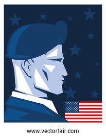 poster with american soldier in uniform, memorial day