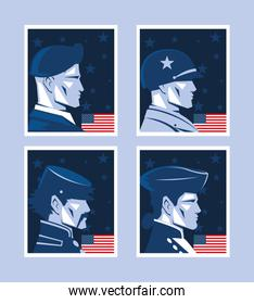set of cards with american soldier, memorial day
