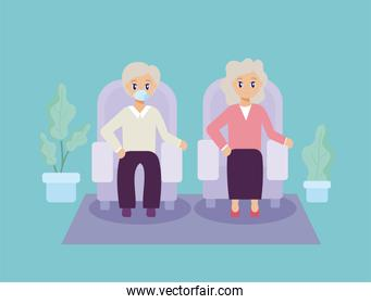 elderly care, old couple sitting on the sofa
