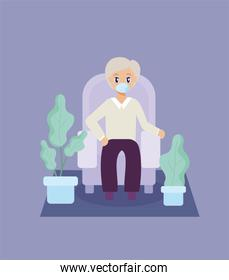 elderly care, old man sitting on the sofa