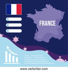 france map with 2019 ncov infographic