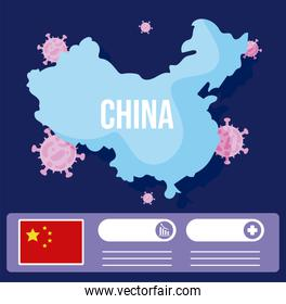 china map with 2019 ncov infographic