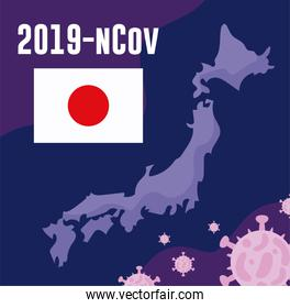 japon map with 2019 ncov infographic