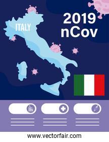 italy map with 2019 ncov infographic