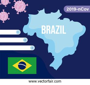 brazil map with 2019 ncov infographic