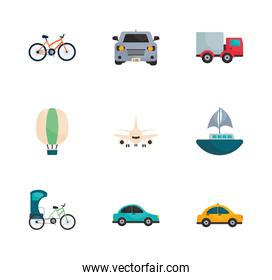 Isolated transportation vehicles flat style icon set vector design