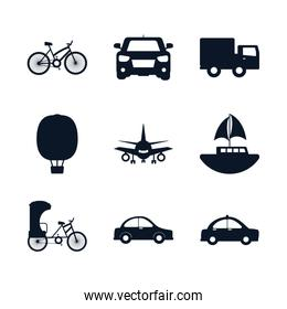 Isolated transportation vehicles silhouette style icon set vector design