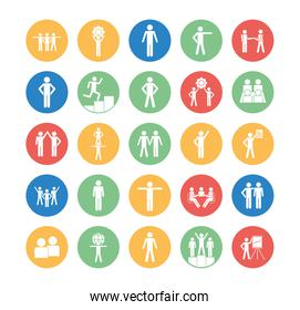 Isolated avatars block silhouette style icon set vector design