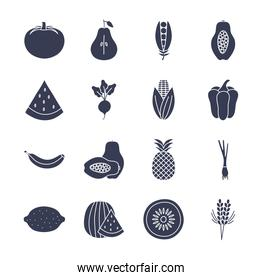 Fruits and vegetables silhouette style icon set vector design