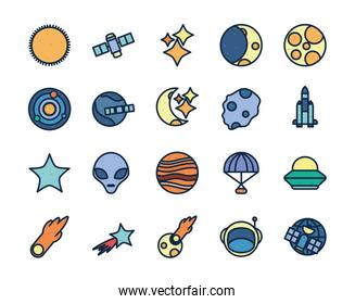 Isolated space line fill style icon set vector design