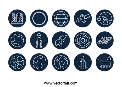 Isolated space line block style icon set vector design