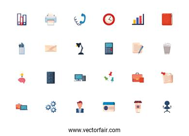 Office and business fill style icon set vector design