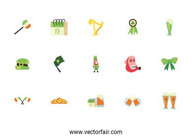 Isolated saint patrcks day fill style icon set vector design