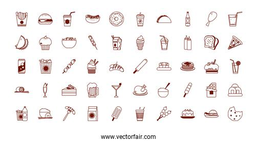 Isolated food line style icon set vector design