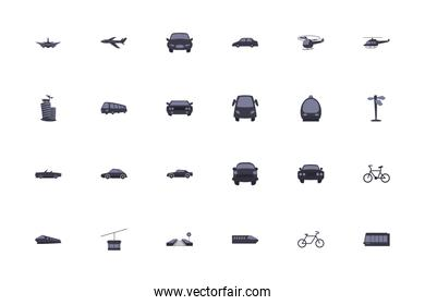 Isolated transportation vehicles fill style icon set vector design