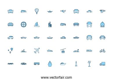 Isolated transportation vehicles line style icon set vector design