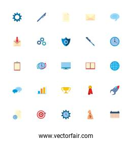 Isolated office and business fill style icon set vector design