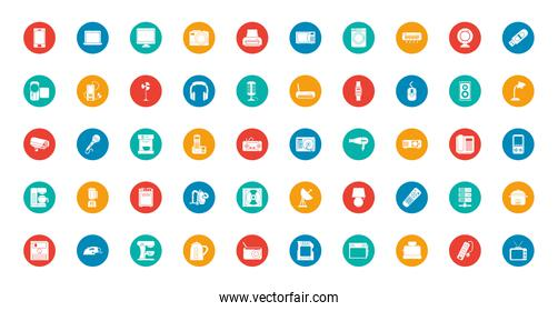Technology block style icon set vector design