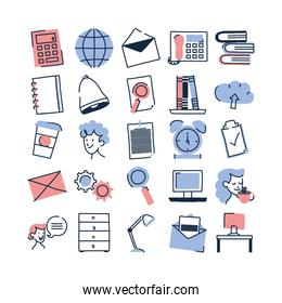Isolated doodle line fill style icon set vector design