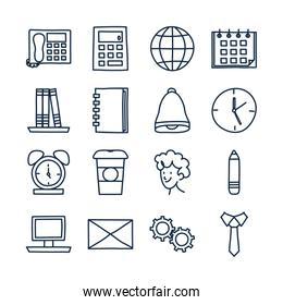 Isolated doodle line style icon set vector design