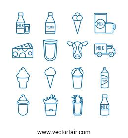 Isolated dairy line style icon set vector design