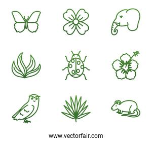Biodiversity and animals gradient style icon set vector design