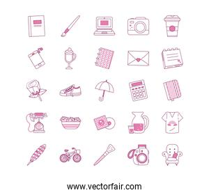 Isolated cute objects half line half color style icon set vector design