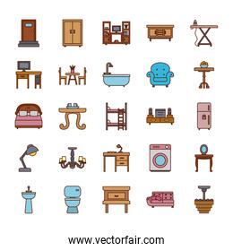 Isolated home line and fill style icon set vector design