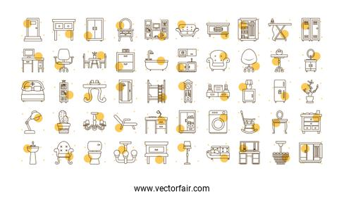 Isolated home block and line style icon set vector design
