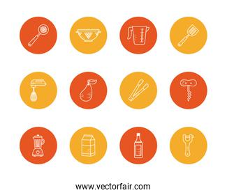 Isolated cook and kitchen block style icon set vector design