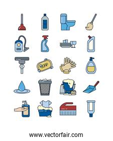 cleaning service line and fill style icon set vector design