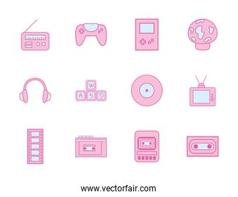 neon line and fill style icon set vector design