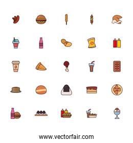 Isolated fast food line and fill style icon set vector design