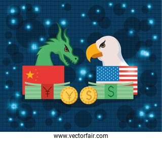 commercial war between china and usa vector design