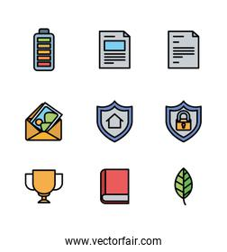 User interface and social media fill icon set design