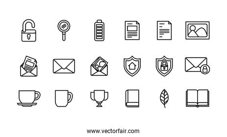 User interface and social media line icon set design