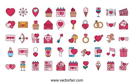 Isolated love icon set fill vector design